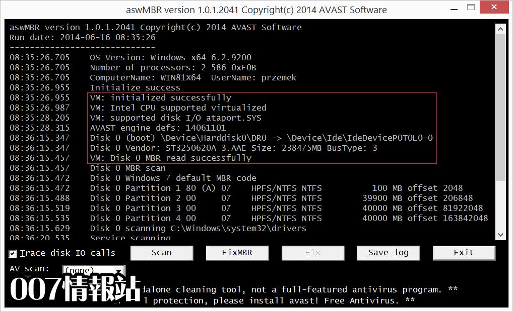 aswMBR Screenshot 1