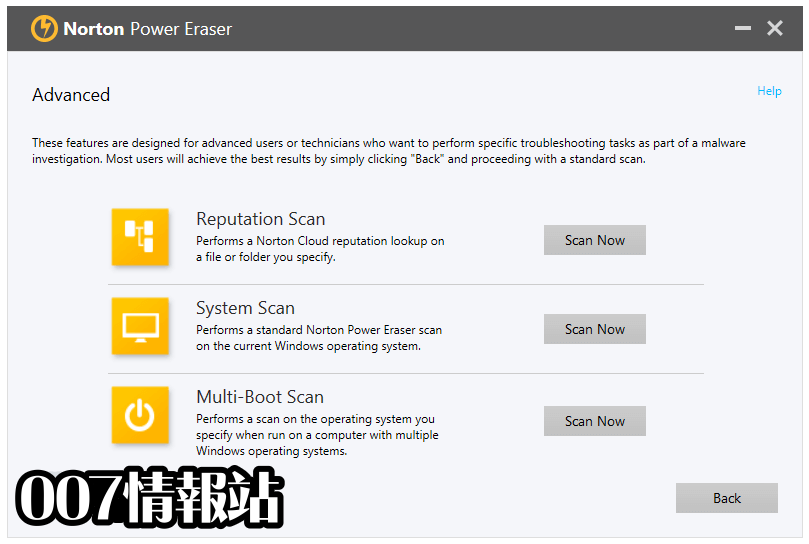 Norton Power Eraser Screenshot 3