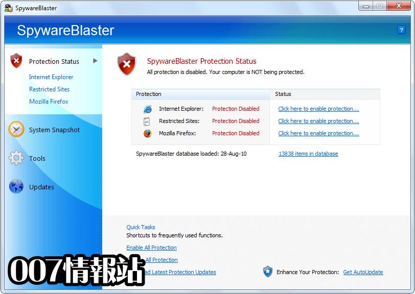 SpywareBlaster Screenshot 1
