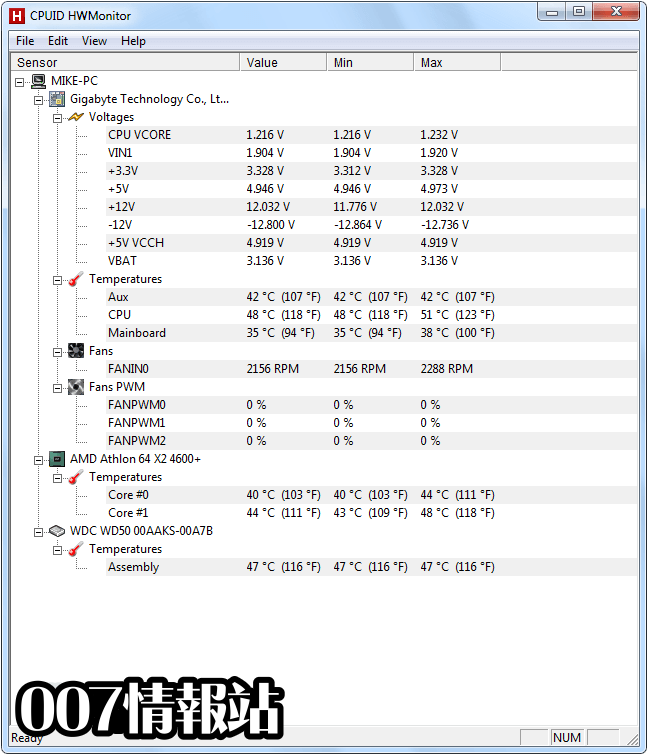 HWMonitor Screenshot 1