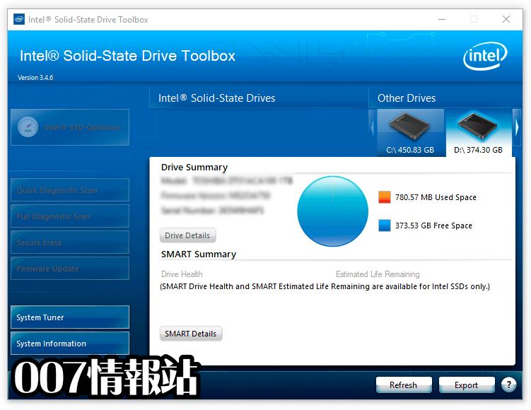 Intel Solid-State Drive Toolbox Screenshot 1