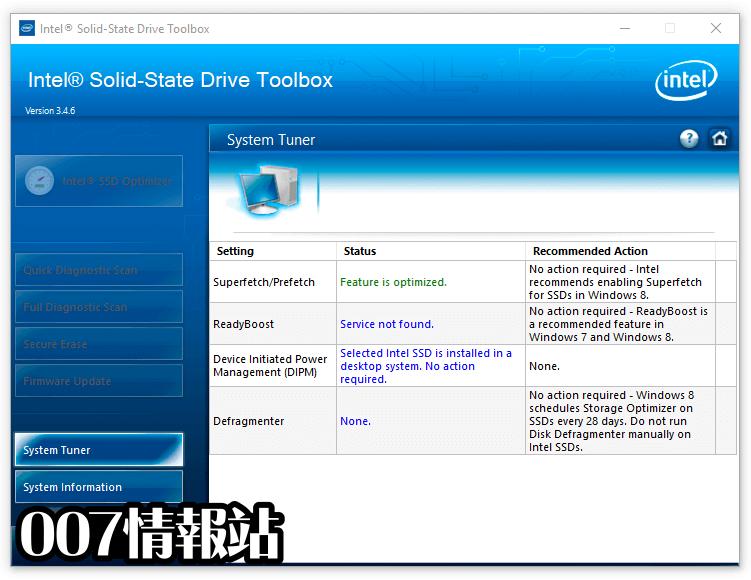 Intel Solid-State Drive Toolbox Screenshot 2