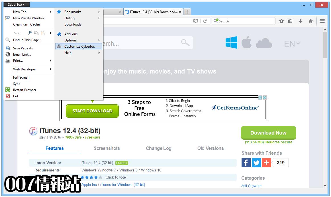 Cyberfox (64-bit) Screenshot 3