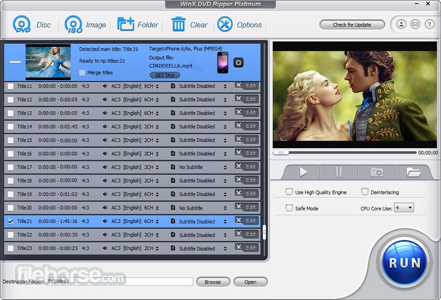 WinX DVD Ripper Platinum Screenshot 2