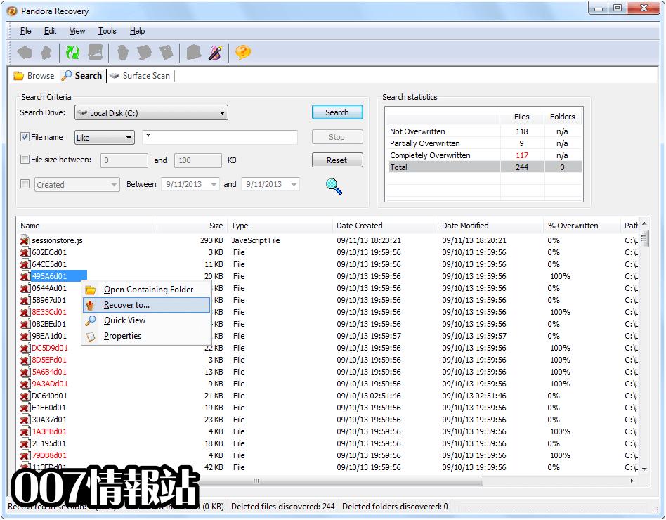 Pandora Recovery Screenshot 2
