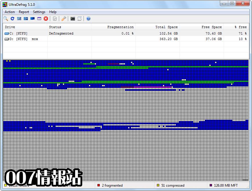 UltraDefrag (64-bit) Screenshot 2
