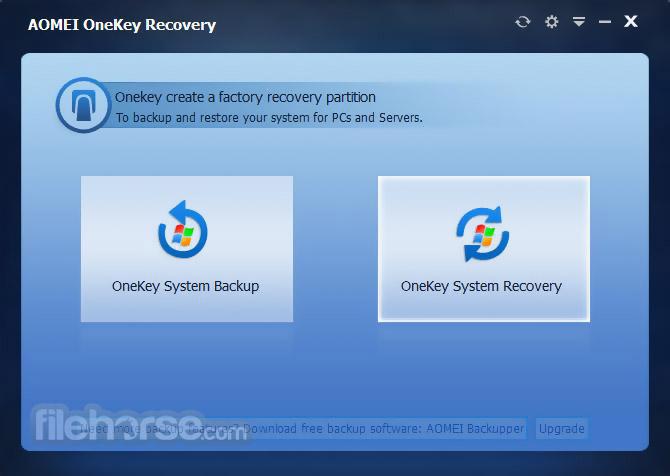AOMEI OneKey Recovery Screenshot 1