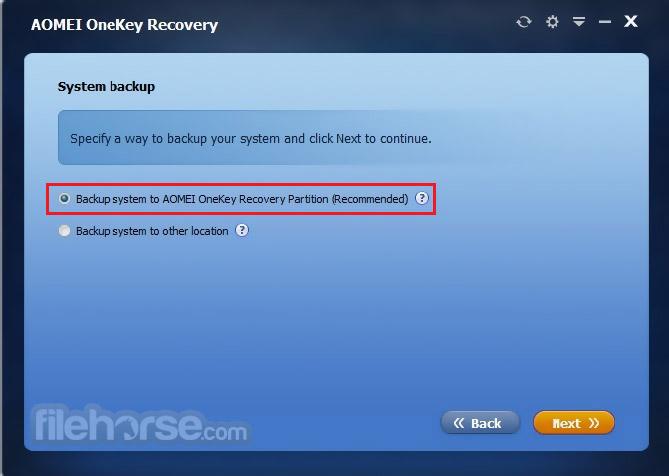 AOMEI OneKey Recovery Screenshot 2