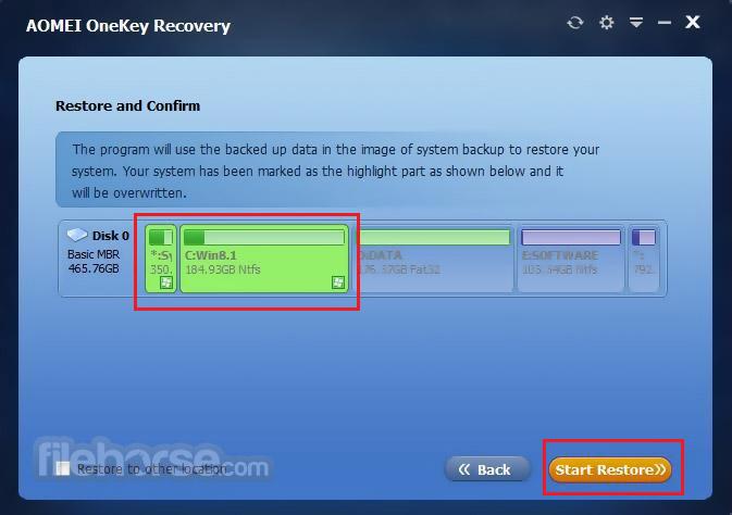 AOMEI OneKey Recovery Screenshot 5