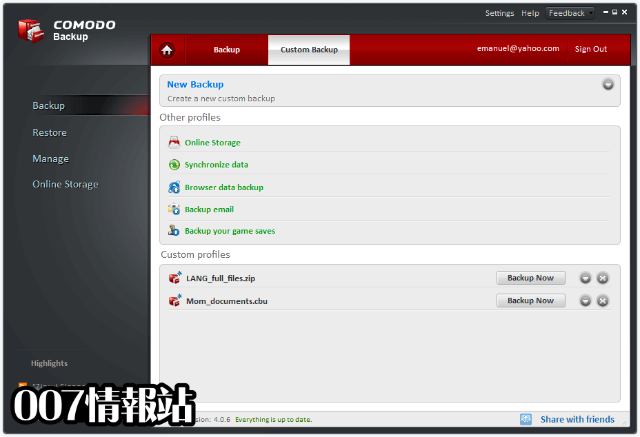 Comodo Backup Screenshot 2
