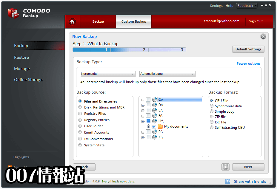 Comodo Backup Screenshot 3
