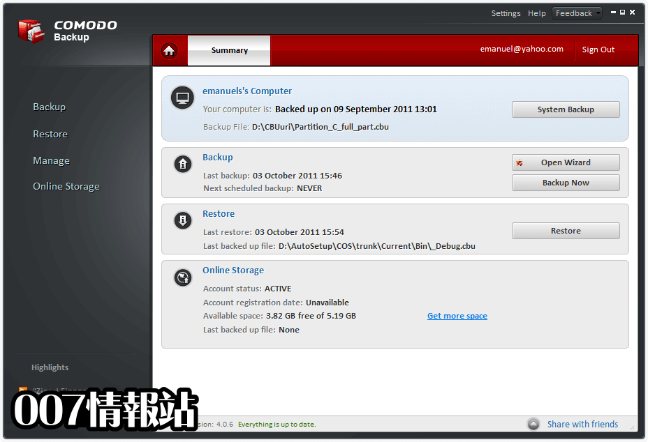 Comodo Backup Screenshot 4