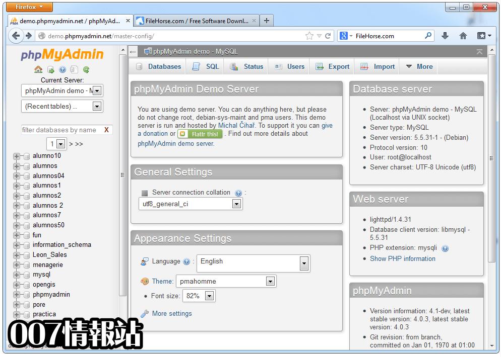 phpMyAdmin Screenshot 1