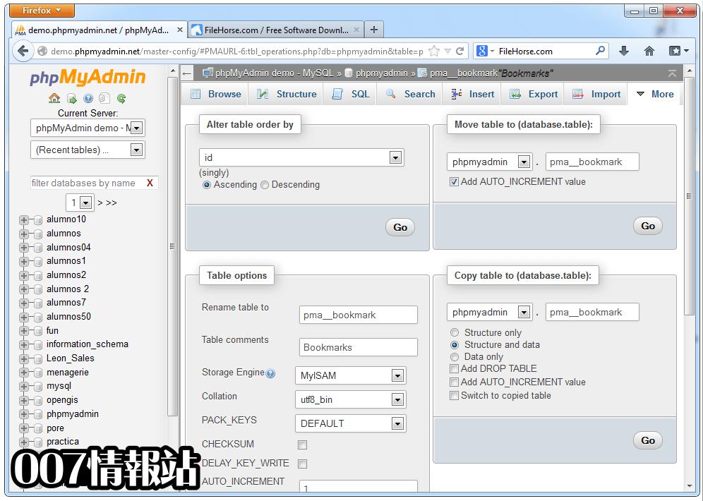 phpMyAdmin Screenshot 4