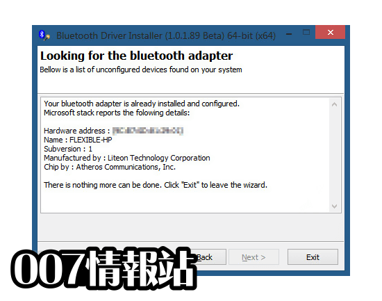 Bluetooth Driver Installer (64-bit) Screenshot 1
