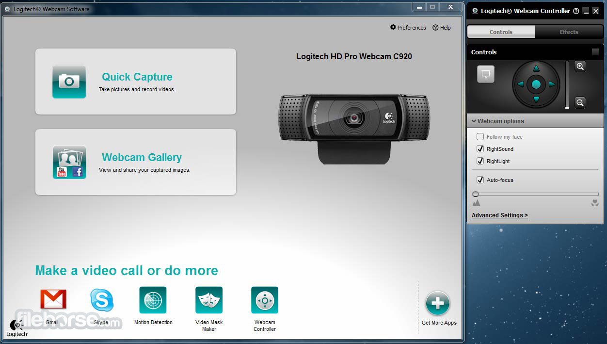 Logitech Webcam Software Screenshot 1