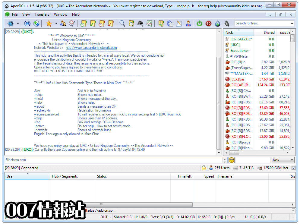 ApexDC++ Screenshot 1
