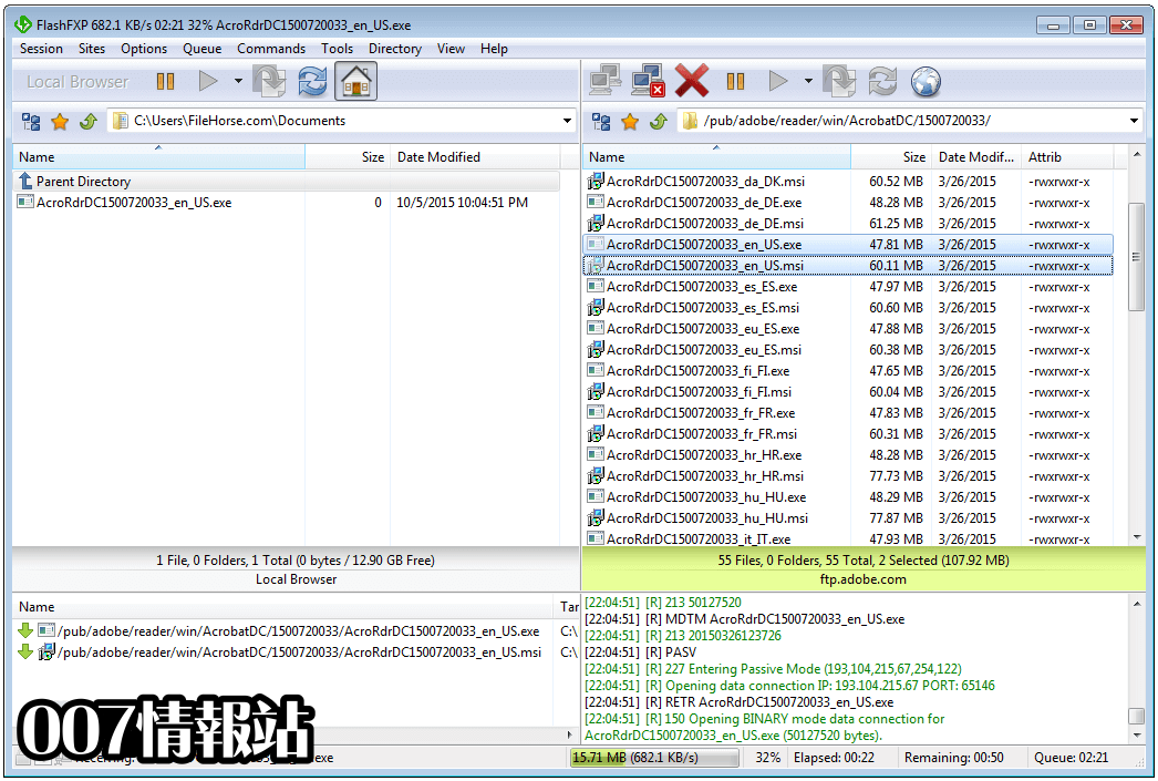 FlashFXP Screenshot 2