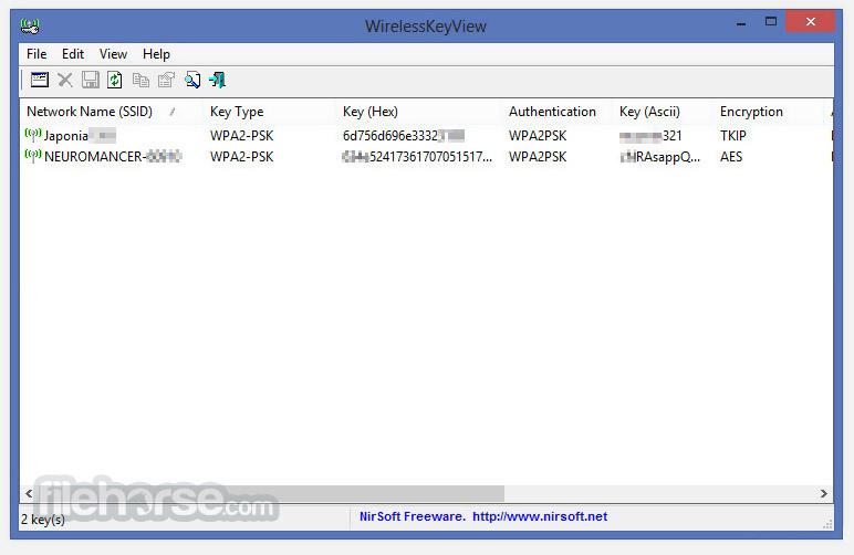 WirelessKeyView (32-bit) Screenshot 1