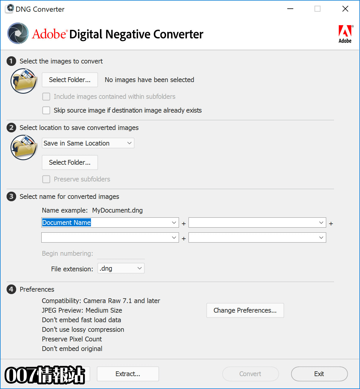 Adobe DNG Converter Screenshot 1
