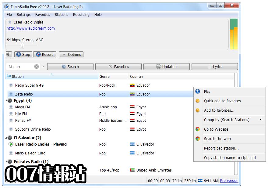 TapinRadio (32-bit) Screenshot 1