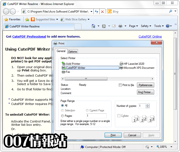 CutePDF Writer Screenshot 1