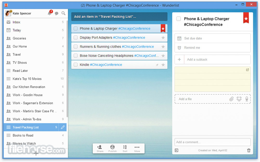 Wunderlist for Windows Screenshot 1
