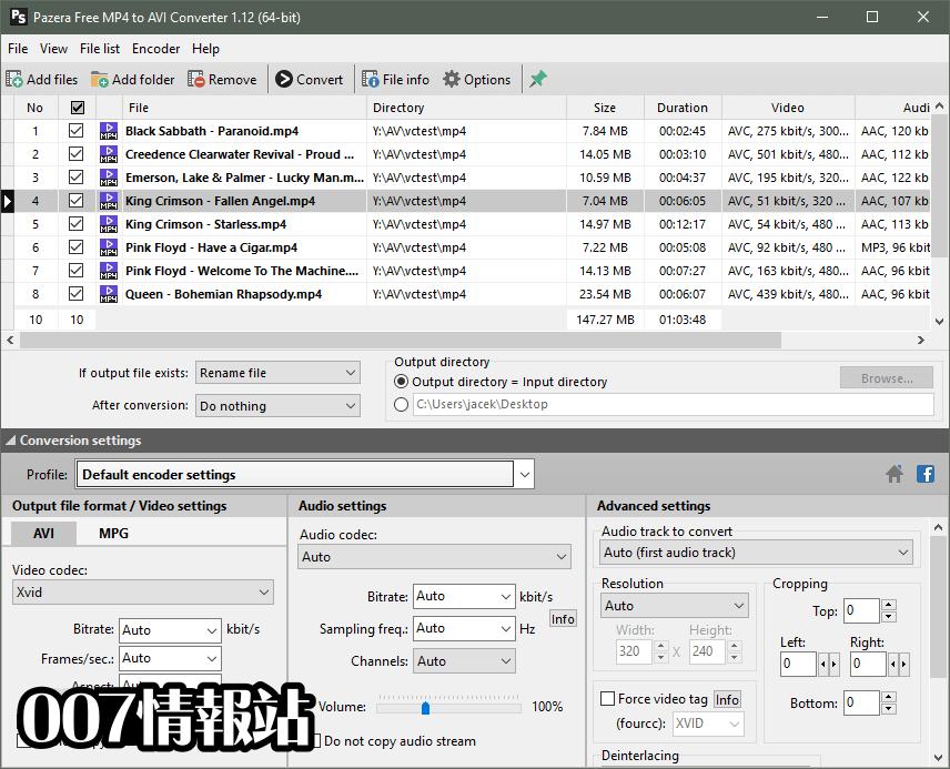 Pazera Free MP4 to AVI Converter Screenshot 1