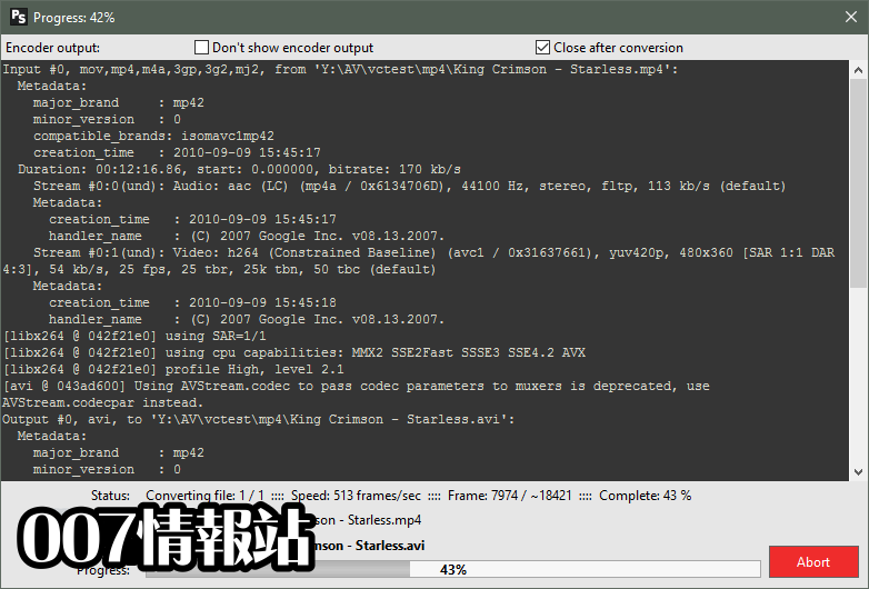 Pazera Free MP4 to AVI Converter Screenshot 2