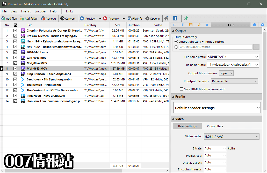 Pazera Free MP4 Video Converter Portable (32-bit) Screenshot 1
