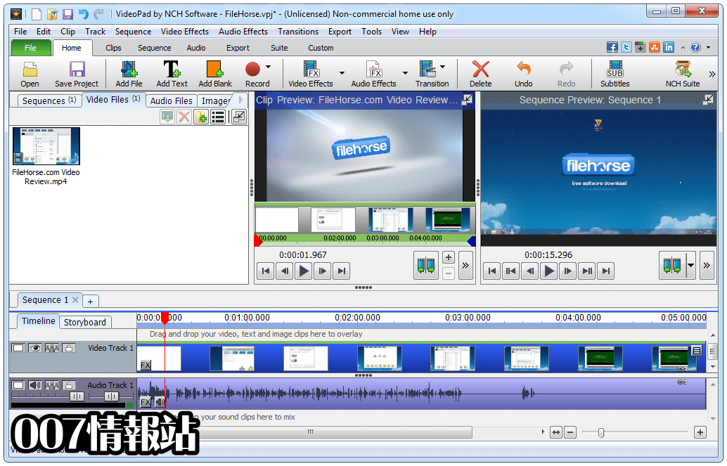 VideoPad Video Editor Screenshot 1
